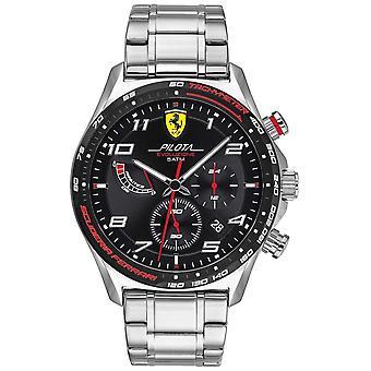Scuderia Ferrari | Men's Pilota Evo | Pulseira de Aço Inoxidável | Relógio Black Dial 0830720