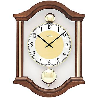 AMS 7447/1 wall clock quartz analog swing double pendulum wooden Walnut colours