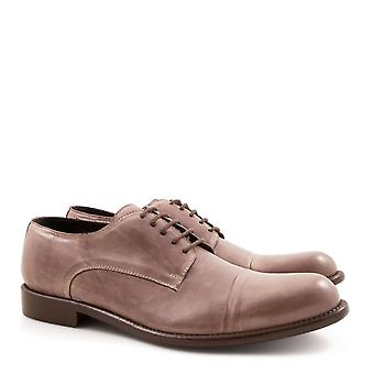 Handmade men's leather derby plain cup toe shoes