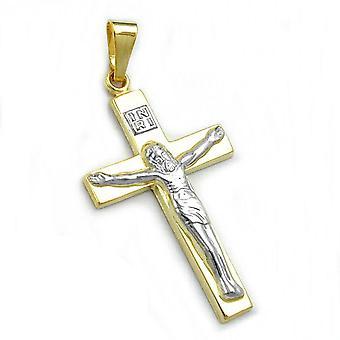 Riipus, bicolor, 9Kt GOLD Jeesuksen risti
