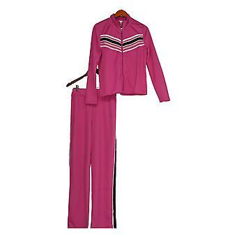K Jordan Set Sporty Side Stripes Front Zip Pull On Pink