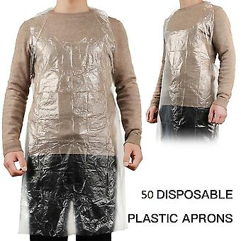 Disposable Plastic Aprons Protection Body Polythene Clear PPE 50 Pack