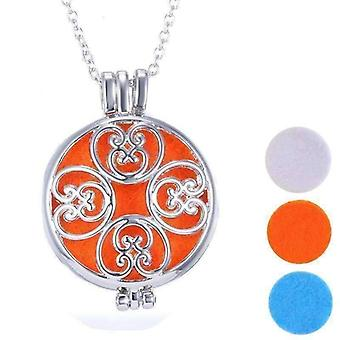 Large round filigree aromatherapy scent diffuser locket necklace