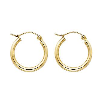 14k Yellow Gold 2mm Round Tube Polished Hoop 17mm Earrings Jewelry Gifts for Women - .9 Grams