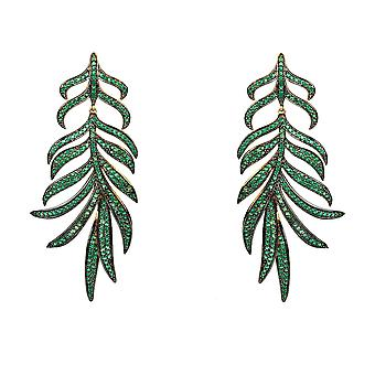 Large Feather Leaf Drop Statement Earring Green Yellow Gold CZ Wedding Party Box
