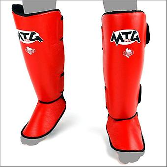 Mtg pro leather shin guards - red