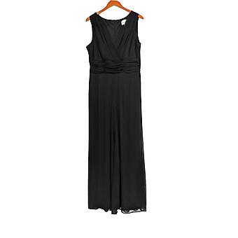North Style Jumpsuits Sleeveless V Front Sheer Legs Black