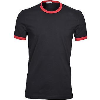 Dolce & Gabbana Sport Kontrast Trim Logo T-skjorte, Svart/rød