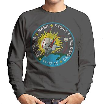NASA STS 41 Discovery Mission Badge Distressed Men's Sweatshirt