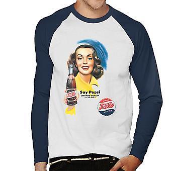 Pepsi Cola Retro Flasche Mädchen Männer's Baseball langärmelige T-Shirt