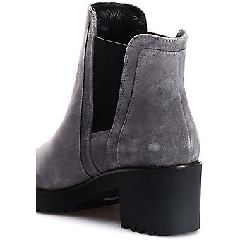 Hogan Women's ankle boots in grey suede with side elastic bands and square heel