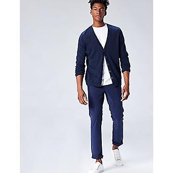Vinden. Heren's Cotton Button Down Cardigan Sweater, Blue (Navy), Medium