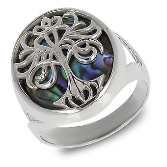 ADEN 925 Sterling Silver Abalone Mother-of-pearl Tree of Life Ring (id 3337)