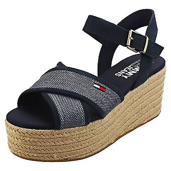 Tommy Jeans Natural Sandal Womens Flatform Sandals in Navy
