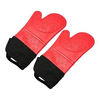 1Pair Oven Mitts Heat Resistant Gloves Red