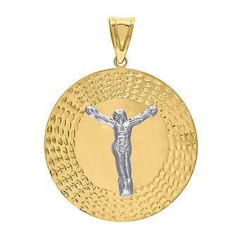 10kゴールド2トーンDcメンズジーザスハイト61.2mm X幅45.1mm宗教的なチャームペンダントネックレスジュエリーギフト男性のための