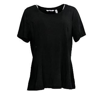 Isaac Mizrahi Live! Women's Top Short-Slv Seamed Peplum Knit Black A354253