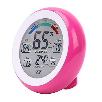Runde Touchscreen Digital Thermometer Hygrometer Rosa Weiß