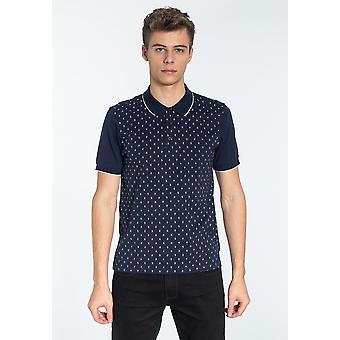 Merc BALL, Men's Cotton Geometric Print Polo Shirt