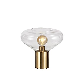 Luminosa Lighting - Wide Table Lamp, 1 x E27, Ancient Brass, Clear Glass