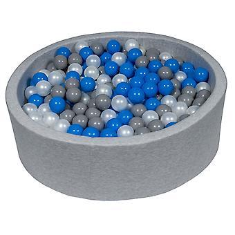 Poço de bola 90 cm com 450 bolas mãe de pérola, azul e cinza