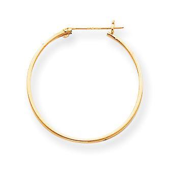 14k Yellow Gold Hollow Polished 1mm Hoop Earrings - .6 Grams - Measures 25x25mm