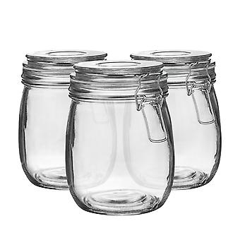 Argon Tableware Glass Storage Jars with Airtight Clip Lid - 750ml Set - White Seal - Pack of 6