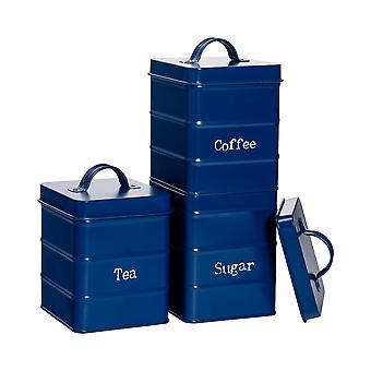 3 Peça Industrial Tea Coffee Coffee Sugar Canister Set - Vintage Style Steel Kitchen Storage Caddy with Lid - Navy