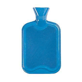 Hot Water Bottle - Classic Short Ribbed Rubber Bottle with Screw Stopper - 2 Litres - Blue