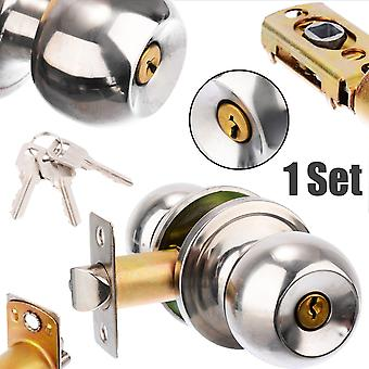 Stainless Steel Round Ball Privacy Door Knob Set  Lock With Key For Home Door