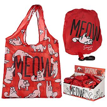 Handy Fold Up Simon's Cat Design Shopping Bag with Holder