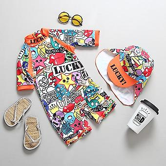 Children's Swimwear Graffiti Print One Piece Overalls Swimming Suit For Baby