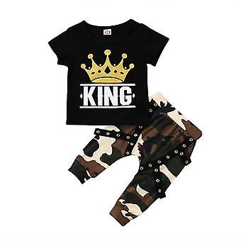 Newborn Kids Tops, T-shirt, Camo Pants, Outfits Set
