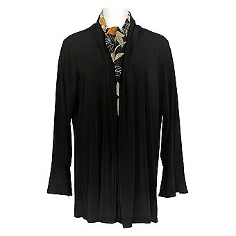 Susan Graver Women's Plus Top Liquid Knit Cardigan & Sjaal Black A371143