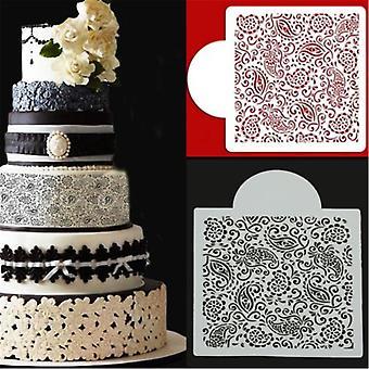 Kukka Fondant Side Cake Mold Border Stencil Koristelu Sugarcraft Leivontatyökalut