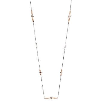 Fiorelli Silver Womens 925 Sterling Silver & Rose Gold Cubic Zirconia Tubular Link Station Necklace of Length 85cm