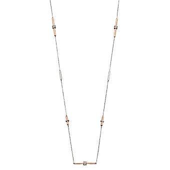 Fiorelli Silver Womens 925 Sterling Zilver & Rose Gold Cubic Zirconia Tubular Link Station Ketting van lengte 85cm