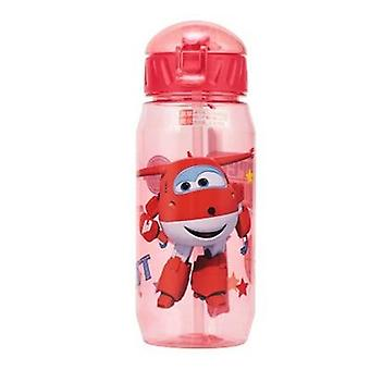 Cartoon Print  Drinking Water Bottle With Straw
