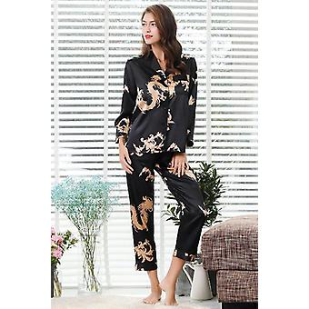 2pc Set Couple Silk Satin Pajamas, Long Sleeve Sleepwear Suit And Man