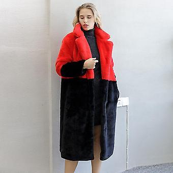 Winter Women High Quality Faux Rabbit Fur Coat Luxury Long Loose Lapel Thick