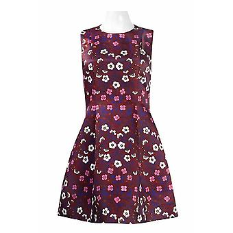 Équipage Neck Sleeveless Zipper Back Box Pleat Floral Crepe