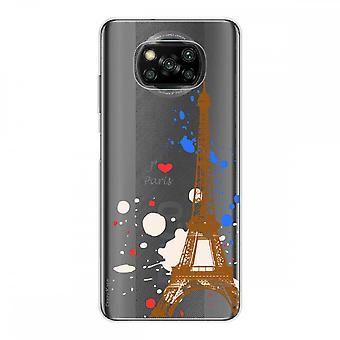 Casco para Xiaomi Poco x3 Nfc en silicona flexible 1 mm, Torre Eiffel de París