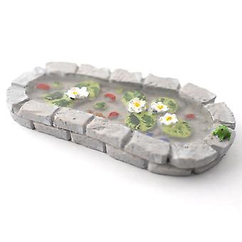 dukker huset grå murstein hage dam med frosk miniatyr 1:12 skala tilbehør