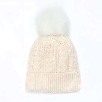POM Cable Knit Faux Fur Bobble Hat | Oatmeal