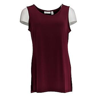 Susan Graver Women's Top Knit Tank W/ Side Slits Red A367241