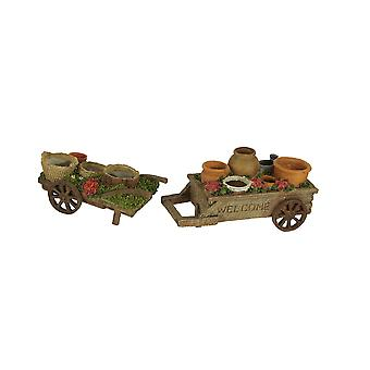 Mini Wagons Filled with Pots Decorative Planter Statue Set