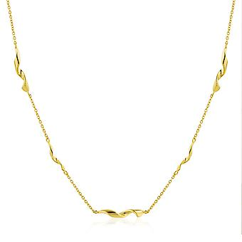 "Ania Haie Sterling Silver Shiny Gold Plated Helix 15"" Necklace N012-02G"
