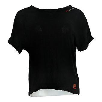 Peace Love World Women's Top Linen Blend Twist Sleeve Tee Black A379899