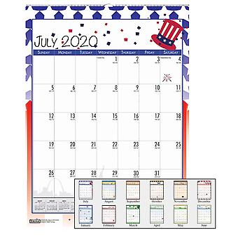 "Monthly Academic Wall Calendar, Seasonal Holiday Depictions, July-June, 12"" X 16-1/2"""