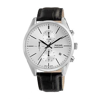 Pulsar-Uhr PM3151X1 - TRADITION Chronograph/Dateur Armband Schwarz Bo Tier Leder Silber Stahl Herren